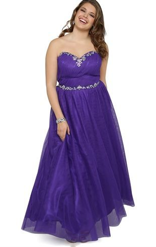 Deb Shops Plus Size Strapless Long #Prom #Dress with Stone .