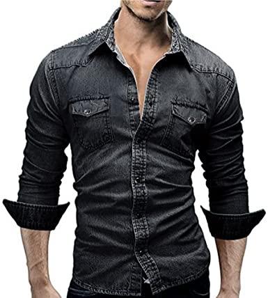 Amazon.com: kaifongfu Men's Shirts Retro Denim Shirt Cowboy Blouse .