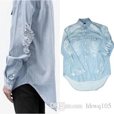 2020 Blue Ripped Denim Shirt For Men Long Sleeve Hi Lo Hem Casual .