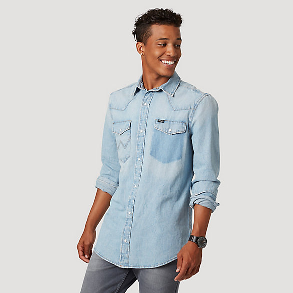 Men's Wrangler® Acid Wash Denim Shirt | Mens Shirts by Wrangler