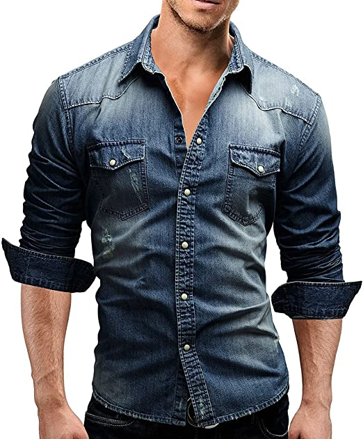 XARAZA Men's Slim Fit Long Sleeve Denim Shirt Button Down Blouse .