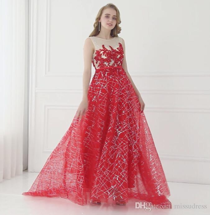 Prom Dresses Long Red Sequined Designer Evening Gown Appliques .