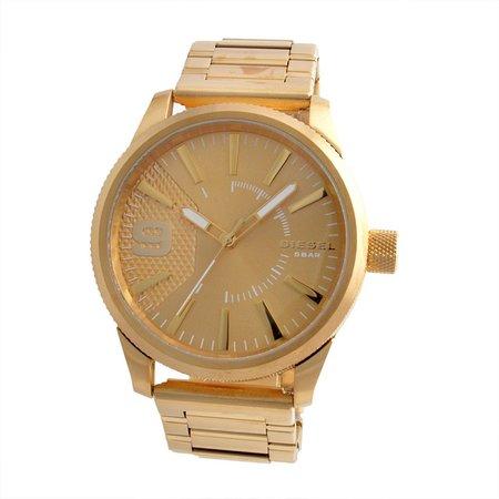 Diesel Men`s Gold Plated Watch With 2 Years International Warranty .