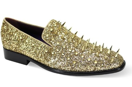 Mens Spiked Dress Shoes Gold Smoking Loafer 67