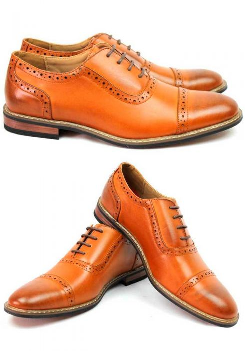 Mens brown lace toe dress shoes Oxfords Leather Lining parrazo .
