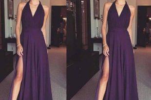 $106.99 Cheap Long Elegant Sheath Draping Prom Dresses 2020 V-Neck .