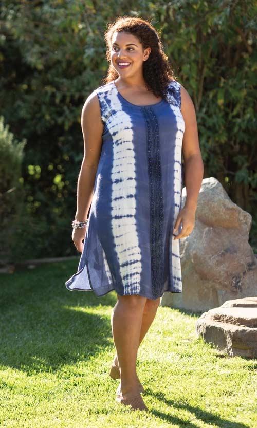 Plus Size Sunniva Tie Dye Beaded Sleeveless Sundress | On The Plus .