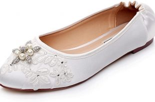 Amazon.com | LUXVEER Ivory Wedding Flats, Closed Toe Bridal Shoes .