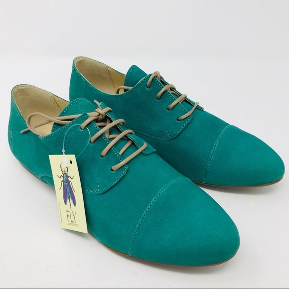 Fly London Shoes | Green Mise Leather Derby Lace Up | Poshma