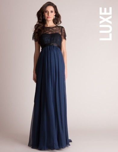 Navy Silk and Lace Maternity Evening Gown | Seraphine Maternity .