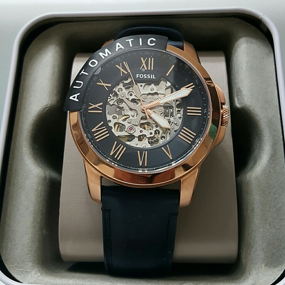 Fossil Accessories   Nwt Mens Blue Rose Gold Automatic Watch .