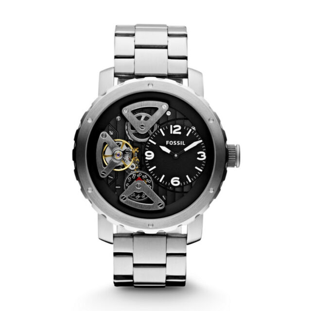 Fossil Men's Twist Automatic Watch Silver with Black Face ME1132 .