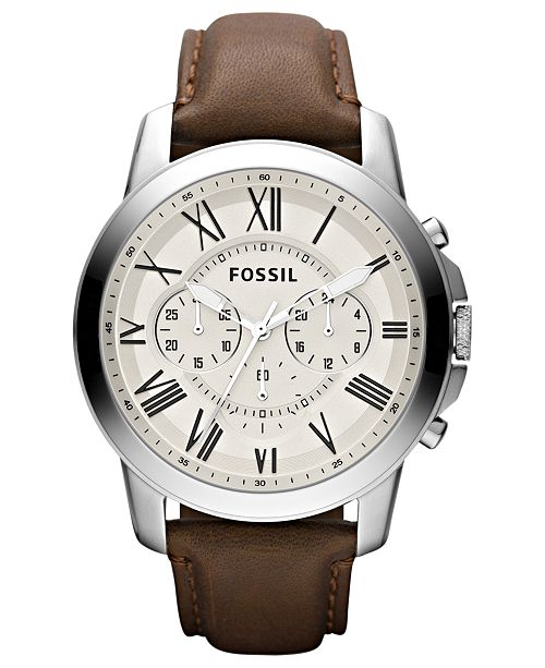 Fossil Men's Chronograph Grant Brown Leather Strap Watch 44mm .