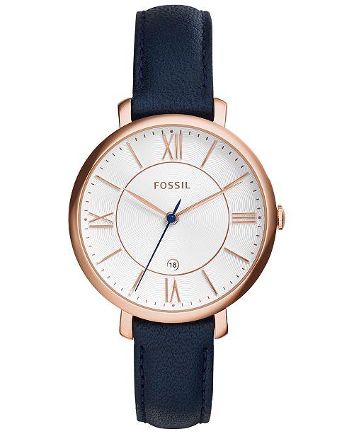 Fossil Women's Jacqueline Blue Leather Strap Watch 36mm ES3843 .