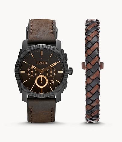 Machine Chronograph Dark Brown Leather Watch and Bracelet Box Set .