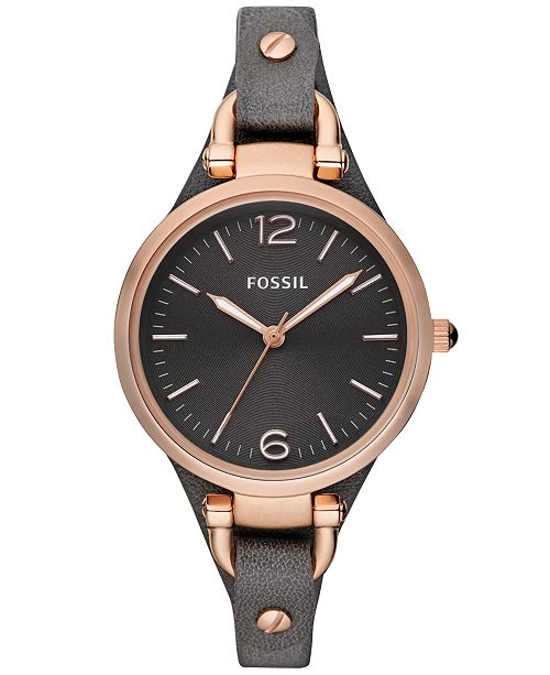 Fossil Women's Georgia Ash Gray Leather Strap Watch 32mm ES30