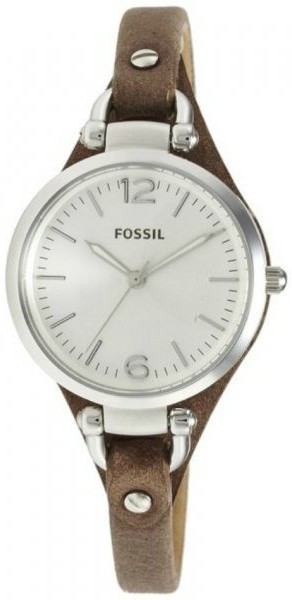 Fossil Women's Georgia Silver Dial Brown Leather Watch ES30