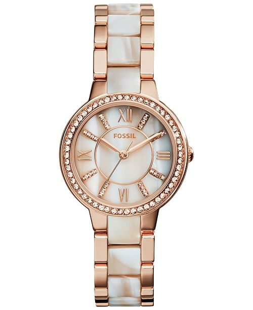 Fossil Women's Virginia Shimmer Horn and Rose Gold-Tone Stainless .