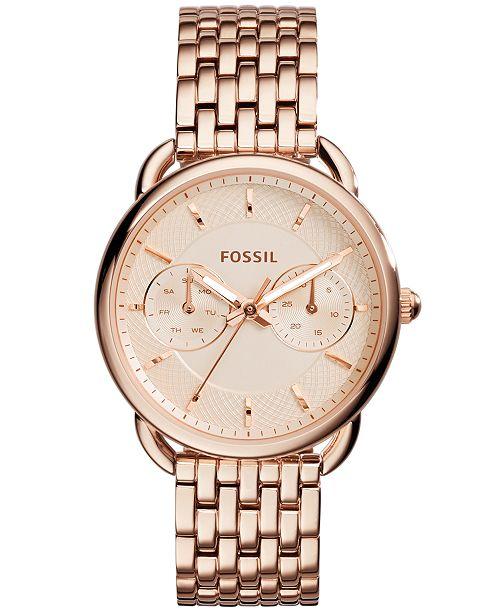 Fossil Women's Tailor Rose Gold-Tone Stainless Steel Bracelet .