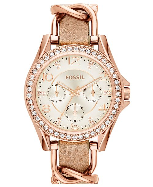 Fossil Women's Riley Rose Gold-Tone Chain and Bone Leather Strap .