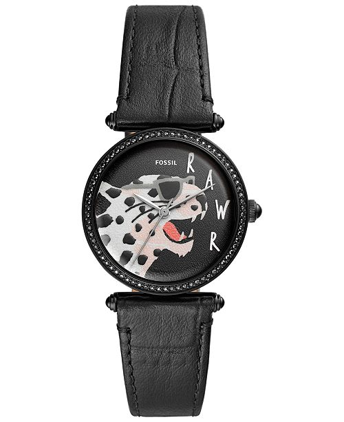 Fossil Women's Lyric Black Leather Strap Watch 32mm & Reviews .