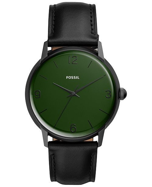 Fossil Men's Mood Black Leather Strap Watch 42mm - A Limited .