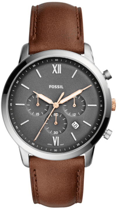 Men's Fossil Neutra Chronograph Brown Leather Band Watch FS54