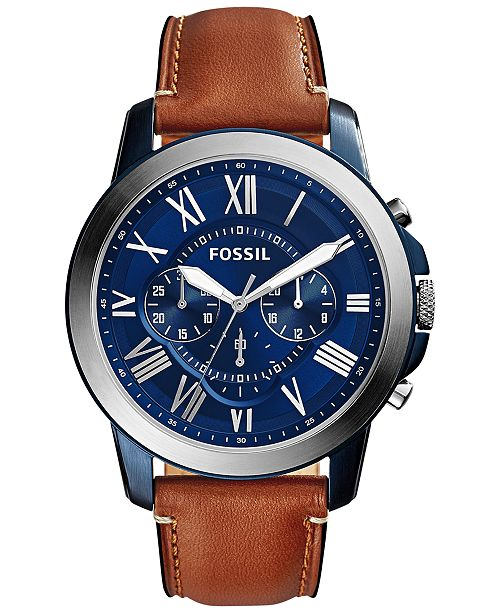 Fossil Men's Chronograph Grant Light Brown Leather Strap Watch .