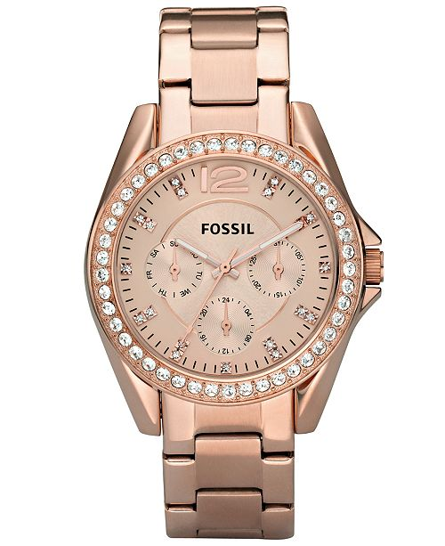 Fossil Women's Riley Rose Gold Plated Stainless Steel Bracelet .