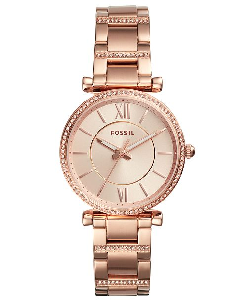 Fossil Women's Carlie Rose Gold-Tone Stainless Steel Bracelet .
