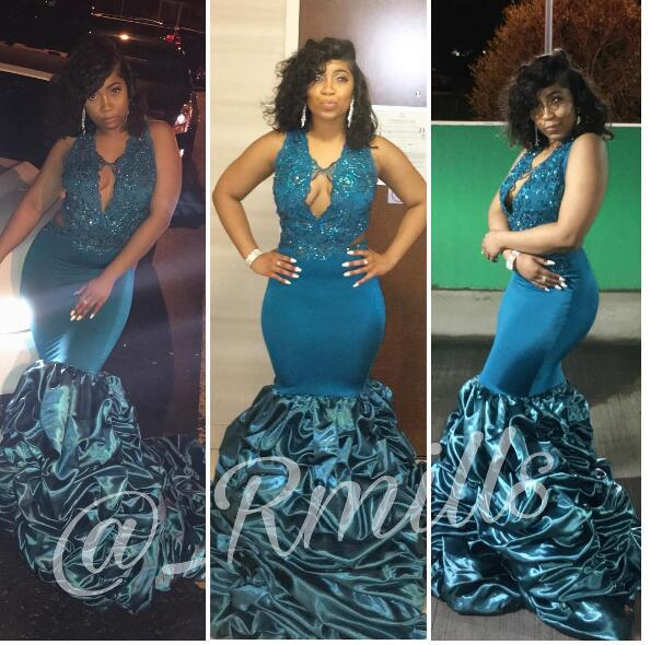 Sexy Black Girl Prom Dress Deep V-neck Beads Prom Dresses Mermaid .