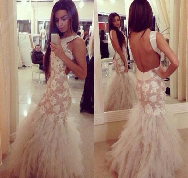 dress, white dress, long prom dress, tanned girl, prom dress .