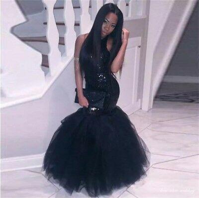Black Girl Prom Dresses Sequined Top Tull Bottom Mermaid Open Back .
