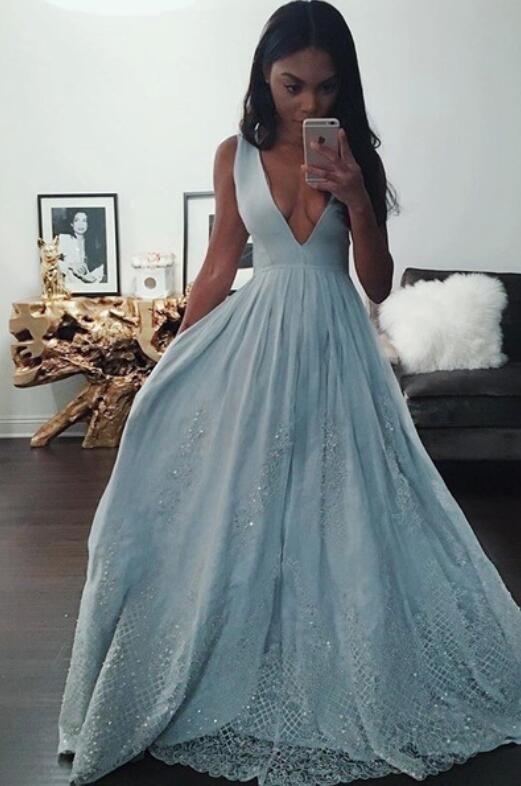 Indian Prom Dress,Black Girl Prom,Light Sky Blue prom dress,Lace .