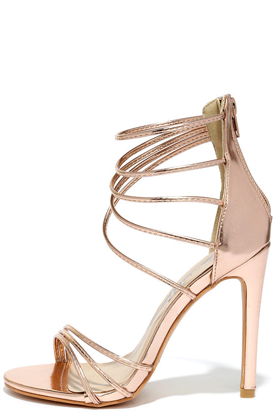 High Heels - Rose Gold Sandals - Metallic Heels - $37.