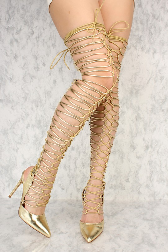 Gold Strappy Detailing Single Sole Thigh High Heels Pate