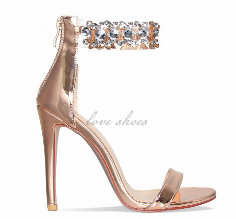 Sexy Rose Gold Bling Ladies High Heels Gem Clear Summer Sandals .