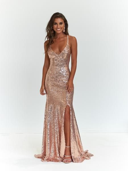 A&N Kara Sequin Gown - Rose Gold in 2020 | Gold prom dresses, Prom .