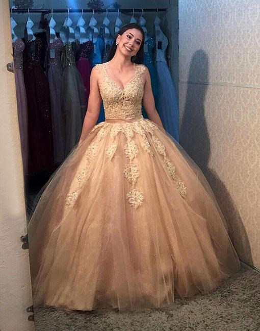 Gold Prom Dresses,Tulle Prom Gown,Long Prom Dress,Ball Gown Prom .