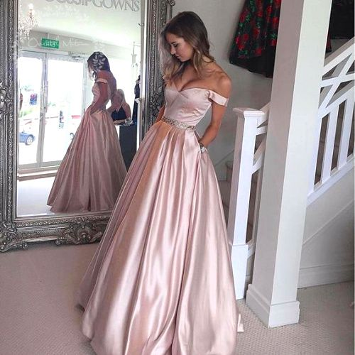 satin rose gold prom dress | Rose Gold Ball Gown Prom Dress .