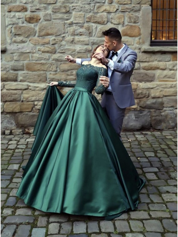 Buy A-Line Off-the-Shoulder Long Sleeves Dark Green Prom Dress .