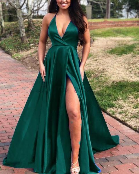 A Line V Neck Long Prom Formal Dresses Green Prom Dresses 0192 .
