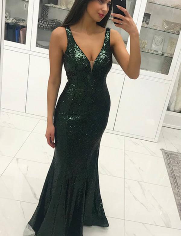 Dark Green Prom Dresses,Mermaid Prom Dresses,Sequined Prom Dresses .