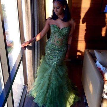 $159.99 Green Prom Dresses 2020 Mermaid Sleeveless Afric
