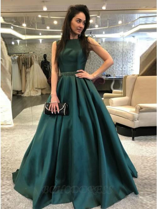 A-Line Bateau Backless Sweep Train Dark Green Prom Dress with .