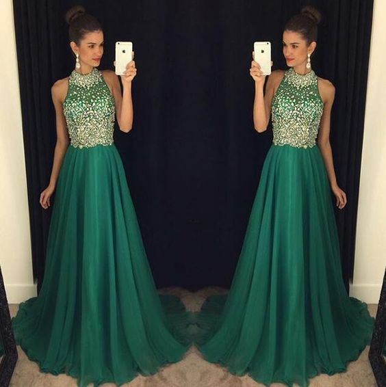 Green Prom Dresses,Chiffon Evening Gowns,Modest Formal Dresses .