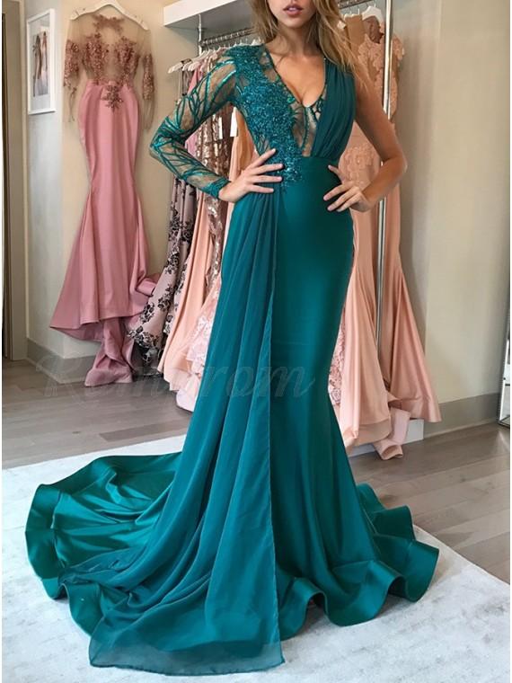 Mermaid V-Neck Dark Green Prom Dress with Appliques Ruffles .