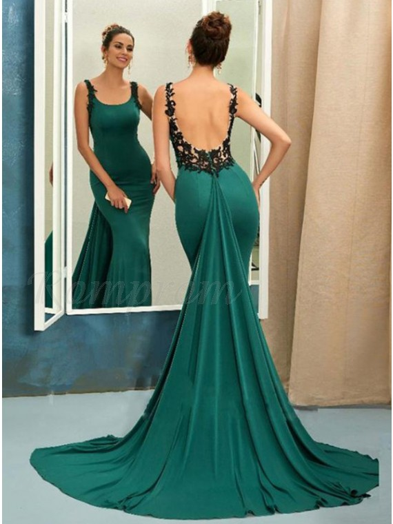 Mermaid Straps Watteau Train Backless Hunter Green Prom Dress with .