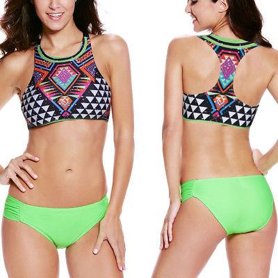 Neon Green Swimsuit Bikini Halter Top Aztec Geometric High Neck .
