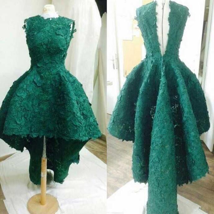 Elegant High Low Prom Dress, Dark Green | fancygirldre